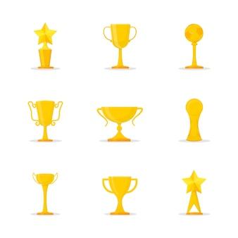 Gouden trofeeën platte illustraties set