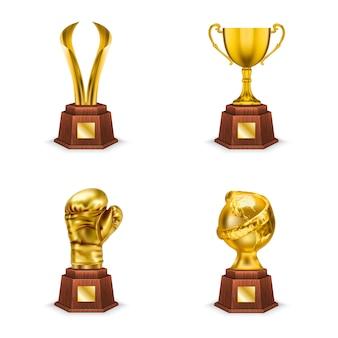 Gouden trofeeënbekers en onderscheidingen op houten voet, realistische illustratie geïsoleerd op wit
