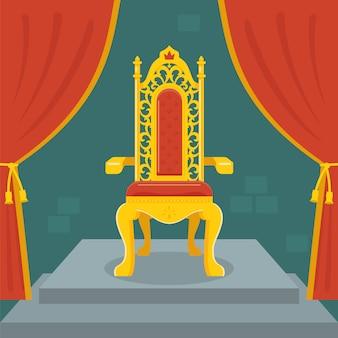 Gouden troon met rood fluweel