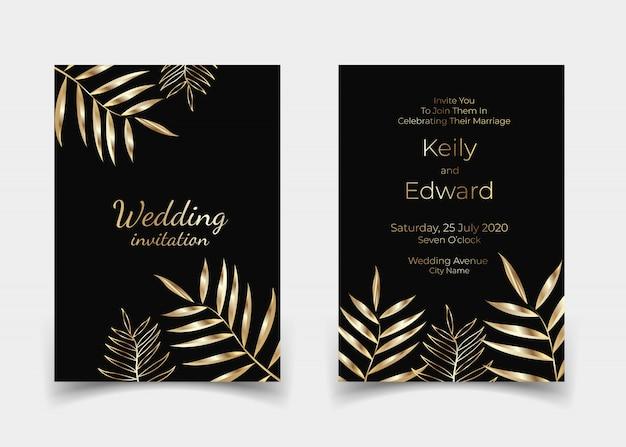 Gouden tropische blad uitnodigingskaart