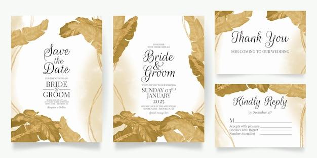 Gouden tropische bladeren bruiloft uitnodiging kaartsjabloon