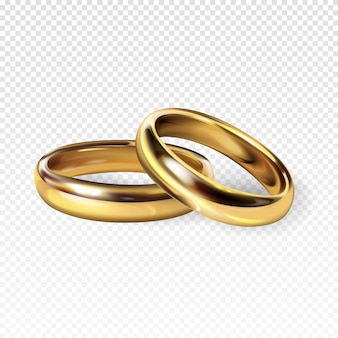 Gouden trouwringen 3d realistische illustratie voor betrokkenheid