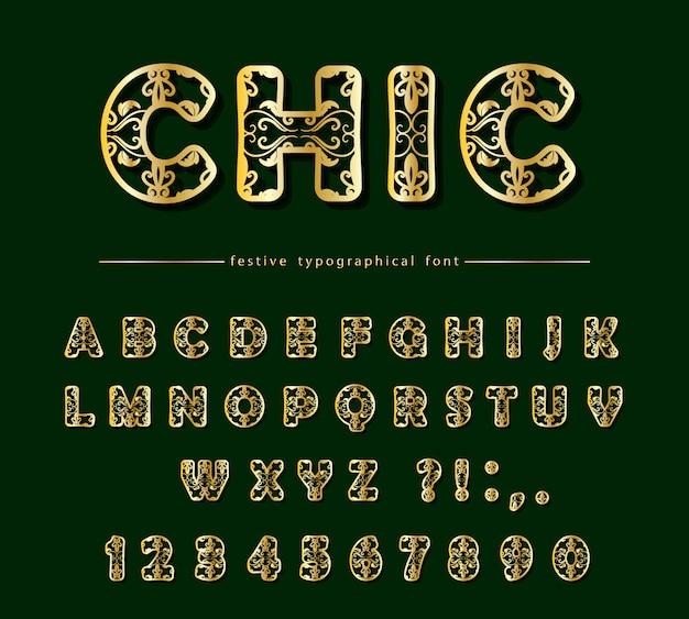 Gouden uitgesneden decoratieve lettertype. laser snijden.