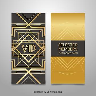 Gouden uitnodiging voor geselecteerde leden in art deco stijl