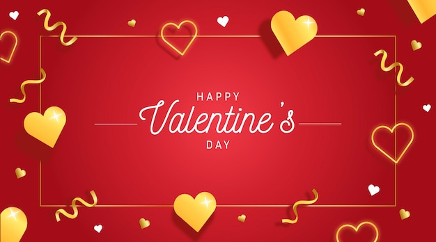 Gouden valentijnsdag achtergrond