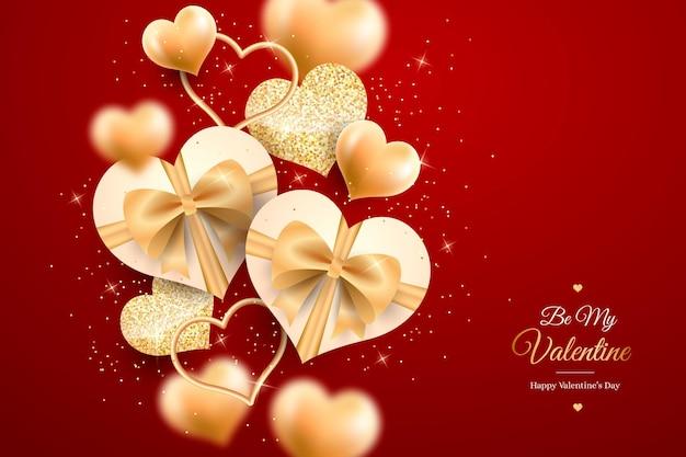 Gouden valentijnsdag behang