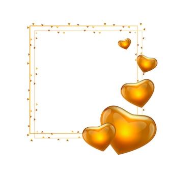 Gouden valentijnsdag frame