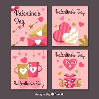 Gouden valentijnsdag kaart collectie