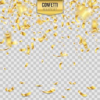 Gouden vallende glanzende confetti glitters achtergrond.