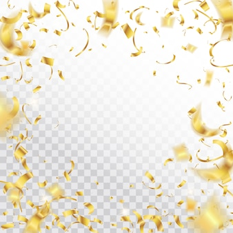 Gouden vallende glanzende confetti schittert achtergrond.