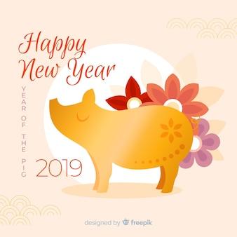 Gouden varken chinese nieuwe jaar achtergrond
