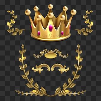 Gouden vector heraldische elementen