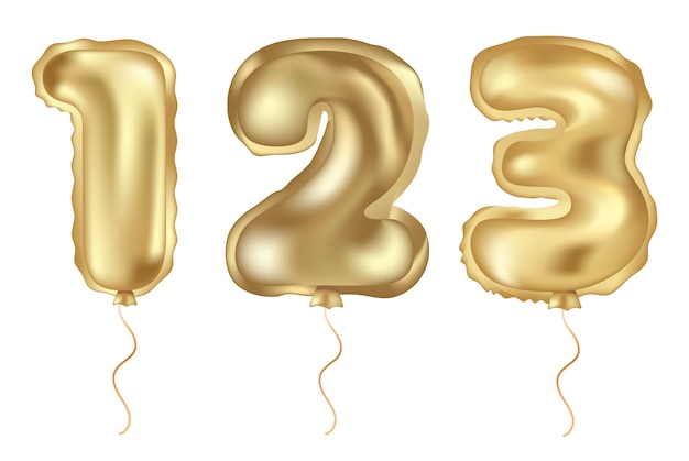 Gouden vector set van realistische ballon
