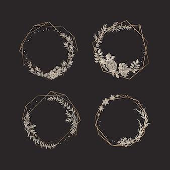 Gouden veelhoekige frames met elegante bloemen set