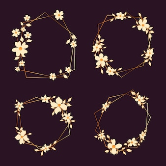 Gouden veelhoekige frames met elegante bloemen