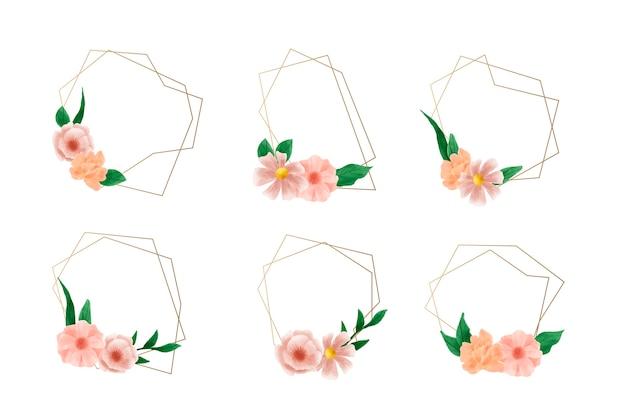 Gouden veelhoekige lijsten met elegant bloemenpak