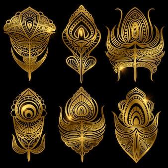 Gouden veren geïsoleerd op zwart