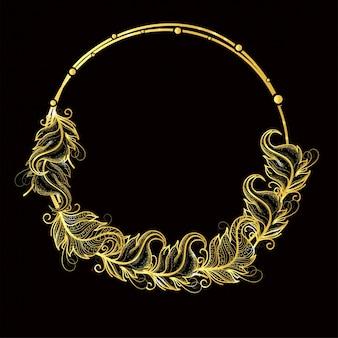 Gouden veren versierd frame ontwerp in boho stijl.
