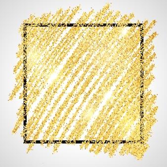 Gouden verf glinsterende achtergrond met zwarte vierkante frame op een witte achtergrond. achtergrond met gouden glitters en glittereffect. lege ruimte voor uw tekst. vector illustratie