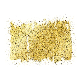 Gouden verf glinsterende achtergrond op een witte achtergrond. achtergrond met gouden glitters en glittereffect. lege ruimte voor uw tekst. vector illustratie