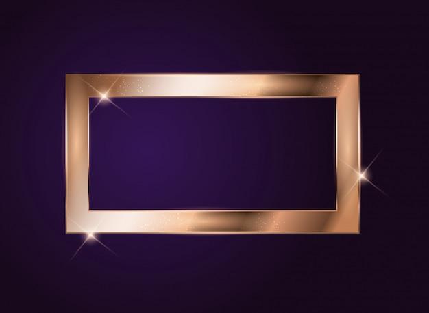 Gouden verf glinsterende structuur frame op donker.