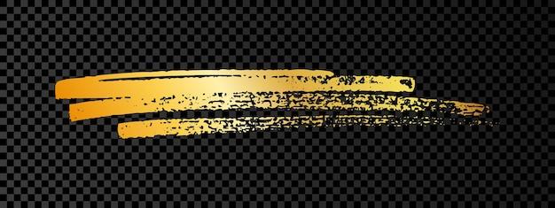 Gouden verf penseel uitstrijkje. abstracte gouden glinsterende schets krabbel uitstrijkje op donkere transparante achtergrond. vector illustratie.