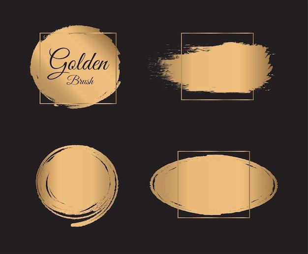 Gouden verf penseelstreek met gouden frame op zwarte achtergrond.