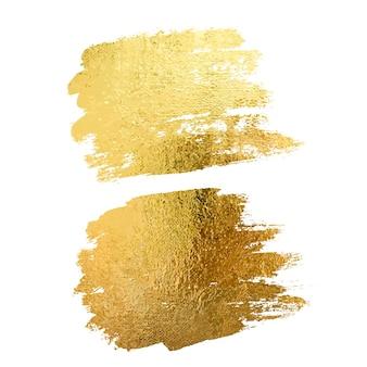 Gouden verf uitstrijkje beroerte vlek set abstracte gouden glitter textuur kunst illustratie