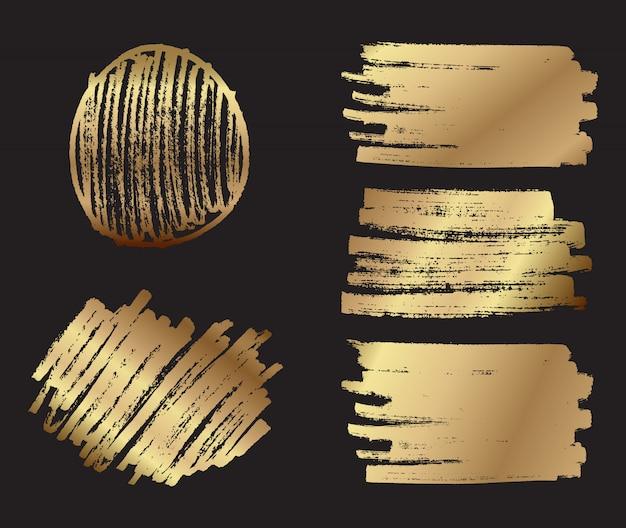 Gouden verfborstel achtergronden
