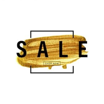 Gouden verfborstel hand getekend met frame en tekst verkoop.