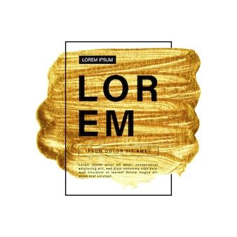 Gouden verfpenseelstreek met grenskader en tekst
