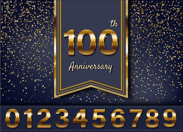 Gouden verjaardag logo ontwerp