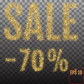 Gouden verkoop 70 procent. glans salling achtergrond