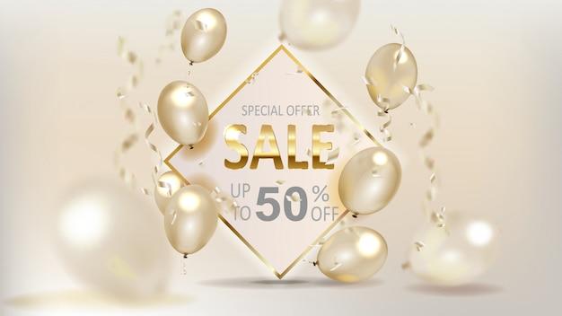 Gouden verkoop ballonnen slaan banners op
