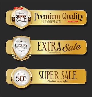 Gouden verkoop etiketten collectie op zwarte achtergrond