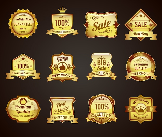 Gouden verkoop labels pictogrammen collectie