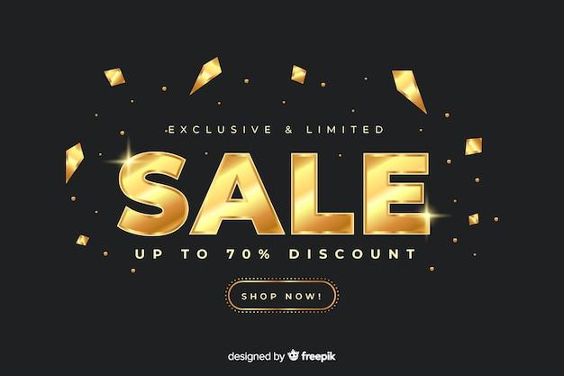 Gouden verkoop promotionele sjabloon voor spandoek