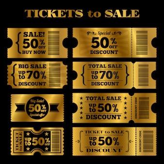 Gouden verkoop tickets vector set. vector kaartjes te koop