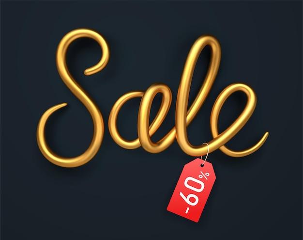Gouden verkoop vorm met schaduw en rode tag
