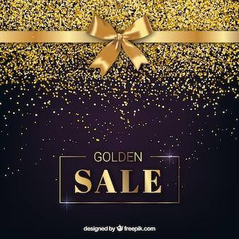 Gouden verkoopachtergrond met lint