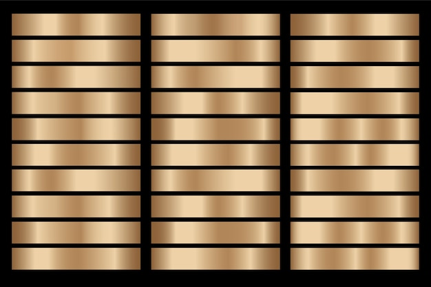 Gouden verloop instellen achtergrond vector pictogram textuur metalen illustratie voor frame, lint, banner, munt en label.