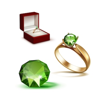 Gouden verlovingsring groen glanzend duidelijk diamond red sieraden doos