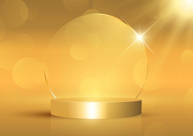 Gouden vertoningsachtergrond met leeg podium
