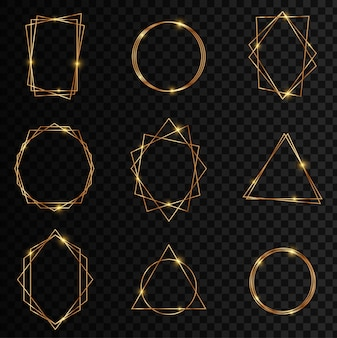 Gouden verzameling geometrische frame. glitter sparkle trail-effect op donkere transparante achtergrond. decoratief element voor logo, huisstijl, kaart, uitnodiging.