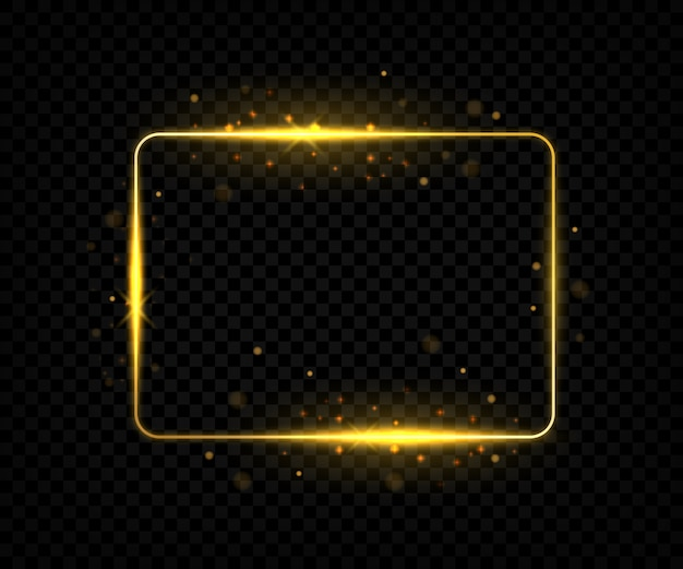 Gouden vierkant frame met fakkels en glitters