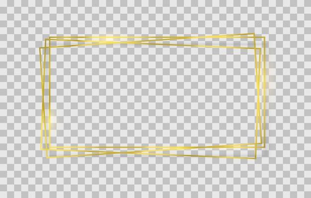 Gouden vierkant, rond, ovaal frame met lichteffecten.