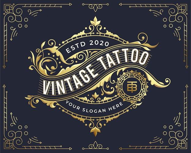 Gouden vintage badge logo-ontwerp met bloeien ornament