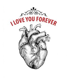 Gouden vintage hart. valentine dag kaart. typografie design. vector illustratie