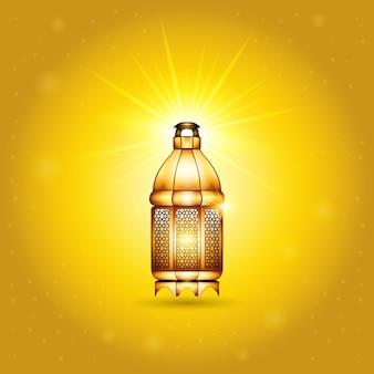 Gouden vintage lichtgevende islamitische lantaarn