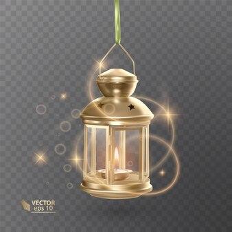Gouden vintage lichtgevende lantaarn met verlichting, glanzende effecten, geïsoleerd